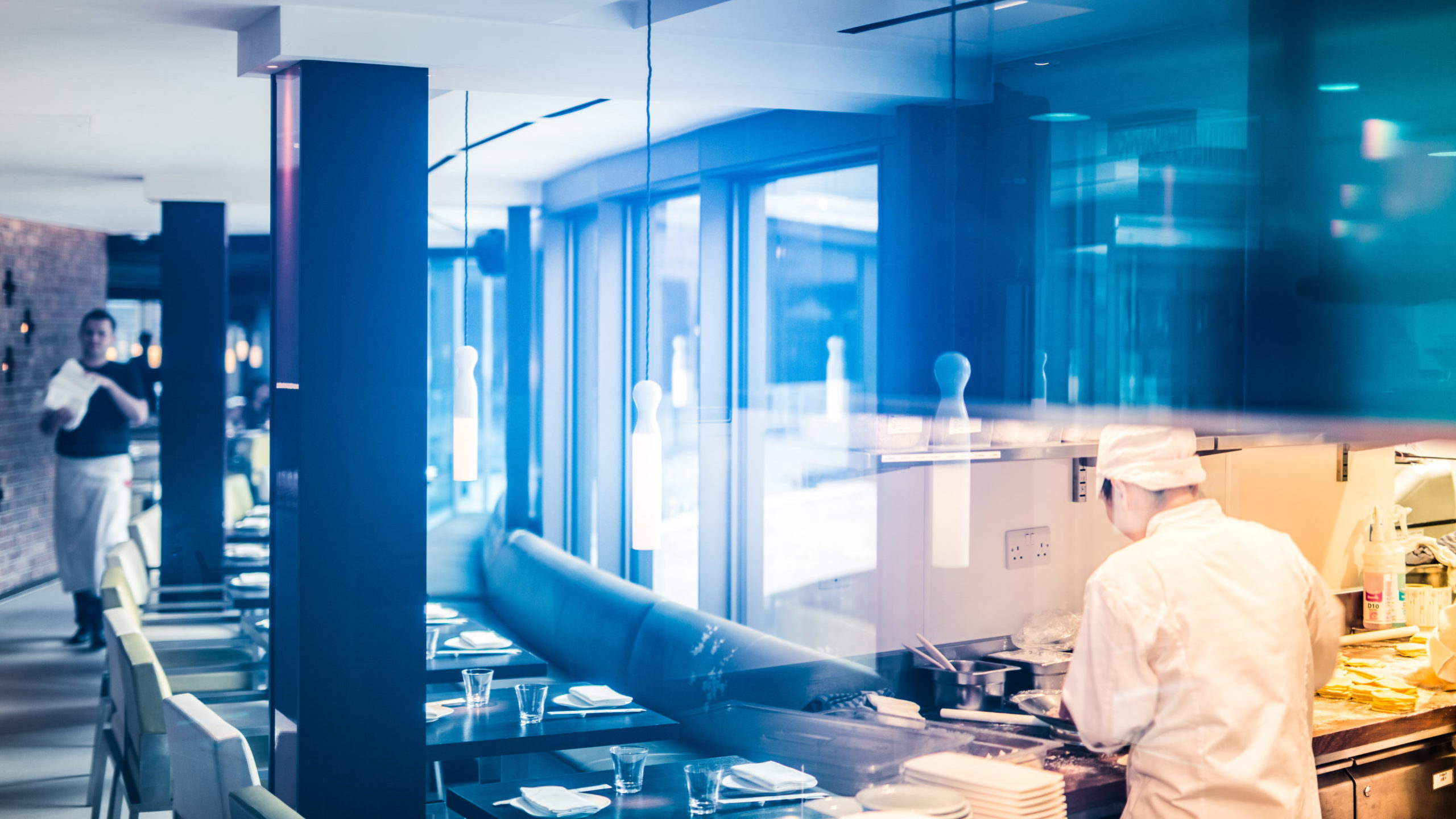 Yauatcha City Interior of Dining Room and Kitchen with Employees
