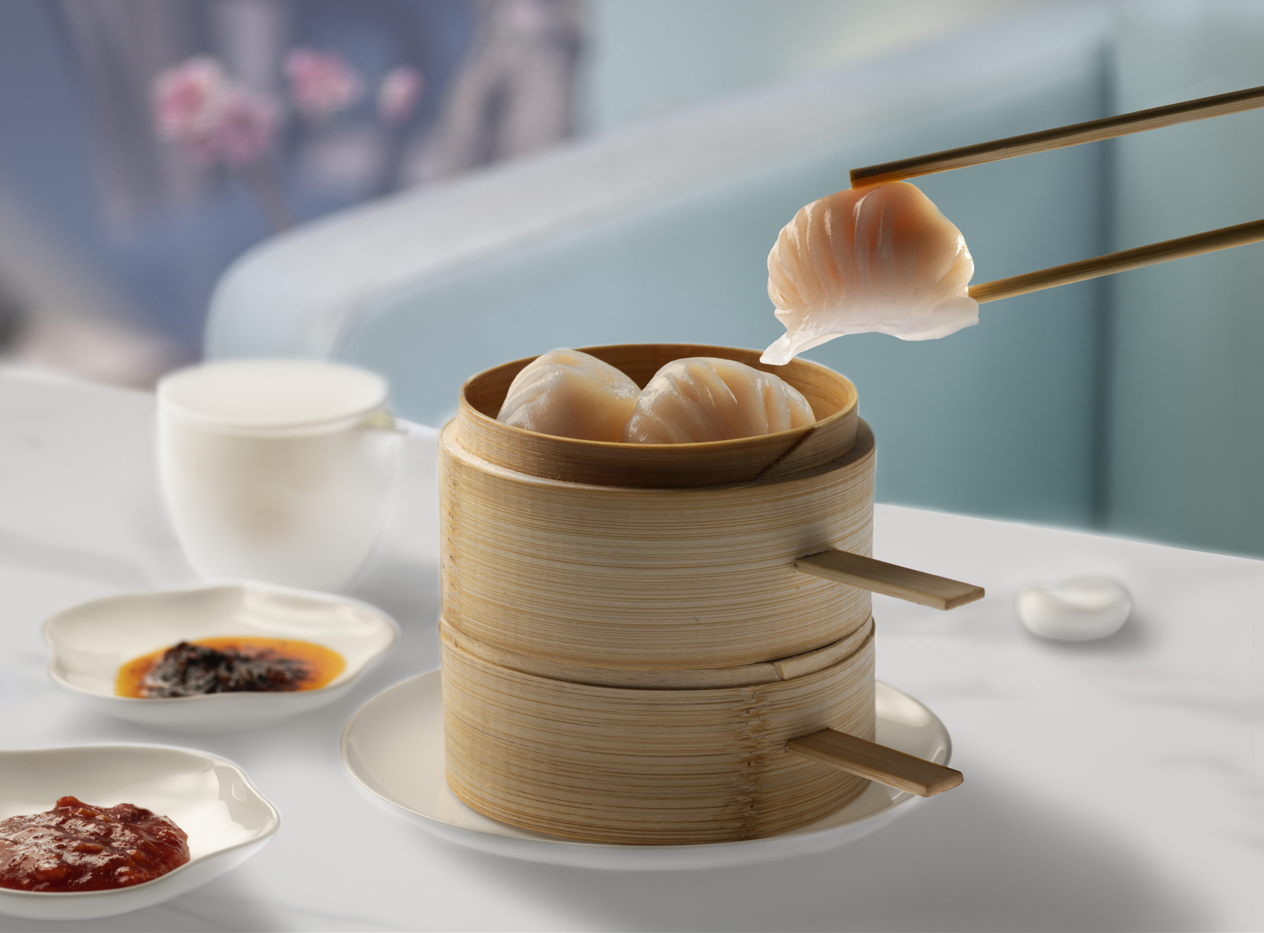 Har gau in Basket with Dipping Sauces