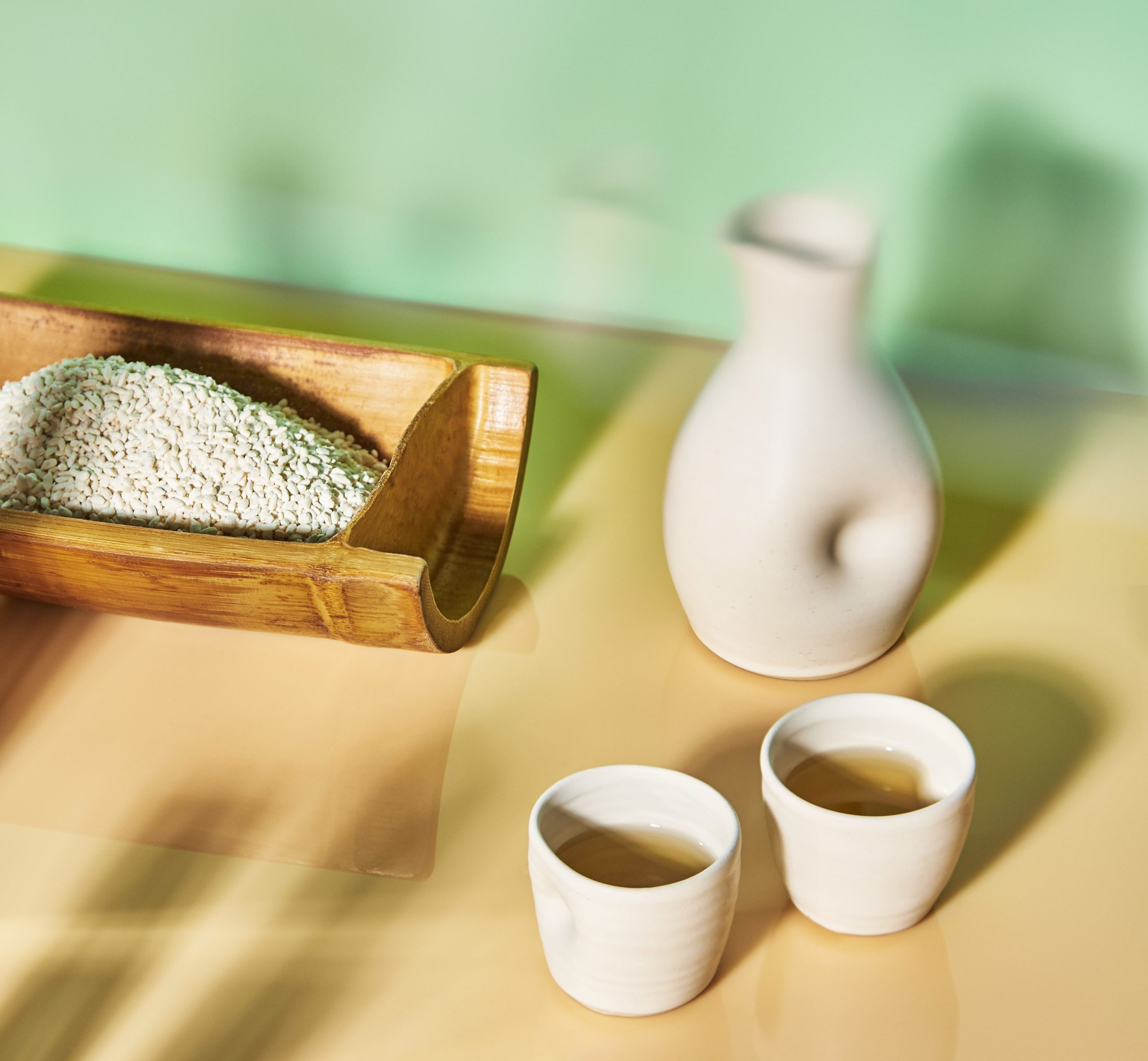 Non Alcoholic Drinks in Sake Carafe and Cups